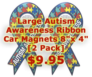 Large Autism Awareness Ribbon Car Magnets