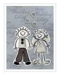Rubber Stamped Wedding Card