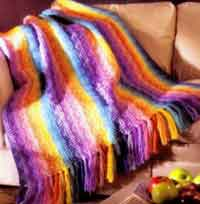 Rainbow Waves Afghan