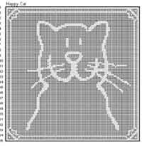Happy Cat Filet Doily