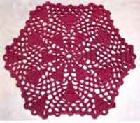 Burgandy Triangles Doily