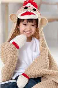 Sock Monkey Hooded Blanket
