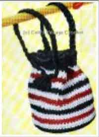 Red, White, Black Drawstring Bag