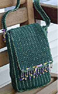Beaded Fringe Crochet Handbag