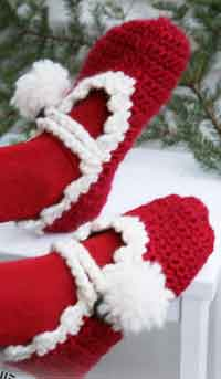Knitting Pattern For Christmas Slippers : FREE CROCHET CHRISTMAS SLIPPERS   Only New Crochet Patterns