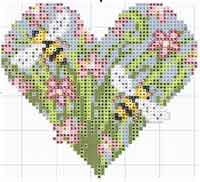 Spring Flower Heart Cross Stitch Chart