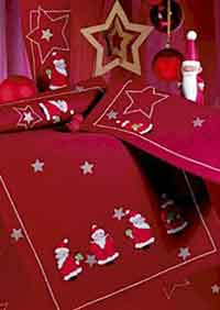 Santa Runner and Placemats Cross Stitch