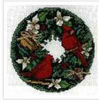 X-stitch Christmas Cardinal Wreath