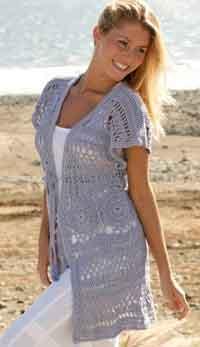 7dd34cae5a9 Long sleevesless cardigan with wide shoulders crochet in Muskat