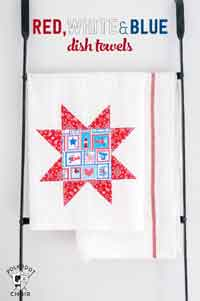 DIY Red, White and Blue Dishtowels
