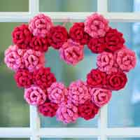 Crochet Rose Heart Wreath Pattern