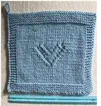 Knitted Heart Dishcloth