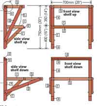 wall mounted folding table plans