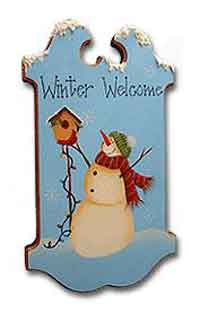Painted Snowman Welcome Sign