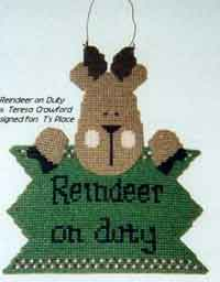 Plastic Canvas Reindeer Door Hanger