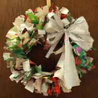 Recycled Wrapping Paper Wreath