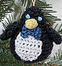 Crocheted Penguin Ornament