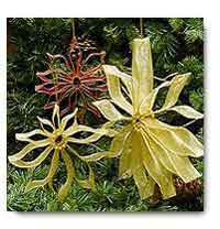 Pleated Ribbon Poinsettias